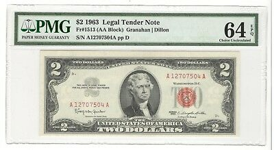 USA United States of America 1963 PMG 64 EPQ $ 2 Legal Tender Note Granahan