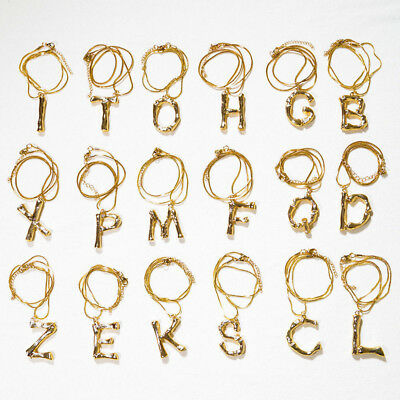 Women Trendy Gold Plated Initial A-Z Alphabet Letter Charm Pendant Fashion Gift
