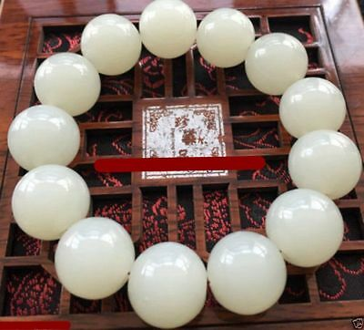 Fine Chinese Natural hand-carved Beautiful white Jade round bead Bracelets 16MM