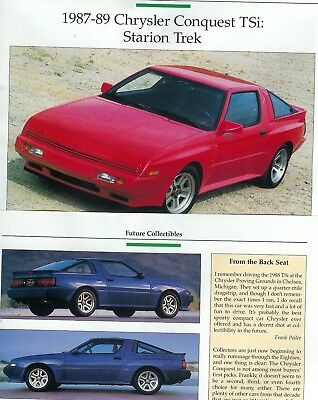 1987 1988 1989 CHRYSLER CONQUEST 3 pg COLOR Article STARION