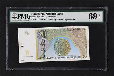 2001  Macedonia National Bank 50 Denari Pick#15c  PMG 69 EPQ Superb Gem UNC