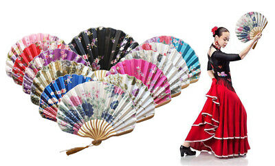 Unisex Chinese Style Hand Held Bamboo Paper Folding Fan Party Wedding Decor NEW