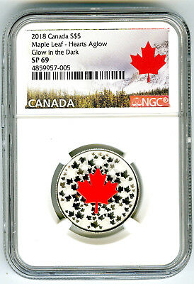 2018 $5 Canada .9999 Silver Ngc Sp69 Hearts Aglow Glow In The Dark Maple Leaf
