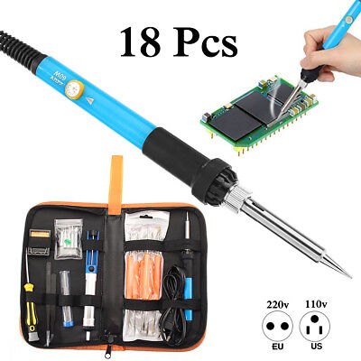 110V 60W Electric Adjustable Temperature Welding Soldering Iron Tool Kit USA