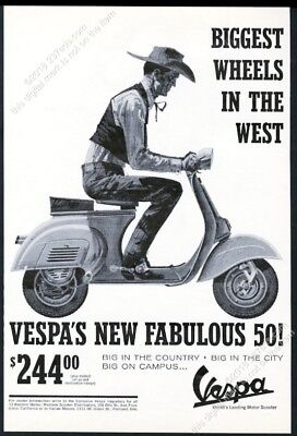 1964 Vespa 50 scooter moped cowboy art vintage print ad