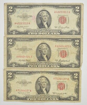 Lot (3) Red Seal $2.00 US 1953 or 1963 Notes - Currency Collection *294