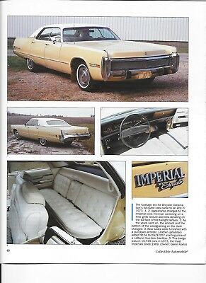 1969  1970 1971 1972 1973 Imperial 12 Pg Color Article Lebaron Crown