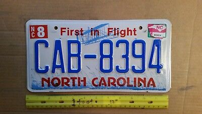 License Plate, North Carolina, Wright Bros. Plane at Kitty Hawk, CAB 8394 Taxi !