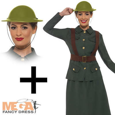 Ladies Ww2 Army Military Pin Up 1940s Glamour Fancy Dress Costume
