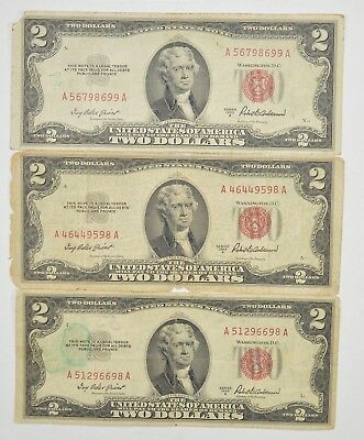 Lot (3) Red Seal $2.00 US 1953 or 1963 Notes - Currency Collection *295
