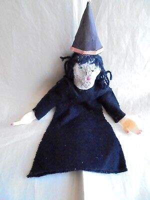 Vintage Primitive Folk Art Paper Mache and Felt Halloween Witch Hand Puppet