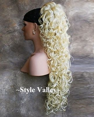 Light Blonde Ponytail Hairpiece Extension EXTRA LONG Clip in/on Curly Hair Piece