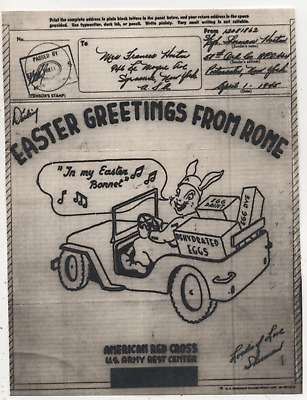 WW2 World War 2 Rome Rabbit Jeep Red Cross Happy Easter Illustrated V-Mail