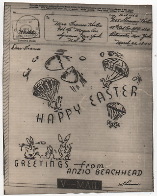 WW2 World War 2 Italy Anzio Beachhead Parachute Happy Easter Illustrated V-Mail