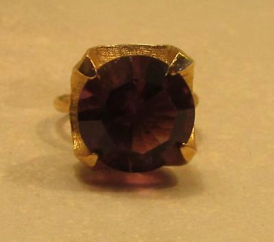 Vintage 60's Chunky Glass Crystal Rhinestone Cocktail Adjustable Ring Purple