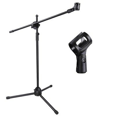US Microphone Boom Arm Stand Tripod Holder Mic Clip Adjustable Height Mount