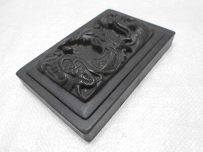 Antique Slate Ink Well Stone Pot Box Japanese Dragons Calligraphy Circa 1920s #9