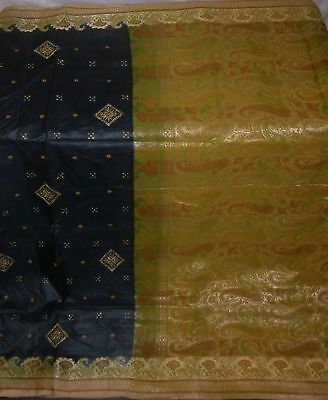 Vintage Indian Saree Pure Silk Sari Weaving Woven Fabric Craft Deco