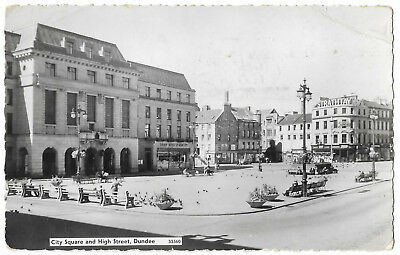 Scotland Dundee City Square & High Street Real Photo Vintage Postcard