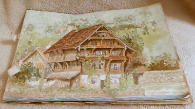 Collection Of 19 Antique Water Colour Paintings In Sketchbook