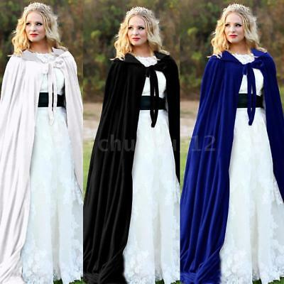 New Velvet Hooded Cloak Cape Long Vampire Halloween Fancy Dress Costume G9I1
