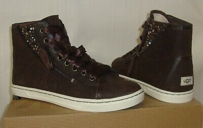 fb8438ade15 UGG AUSTRALIA BLANEY CRYSTAL Choc Brown Leather Sneakers Size US 6 ...