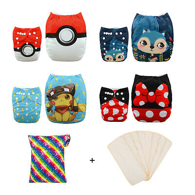 4 Pcs Alva Baby Cloth Diappers Washable Nappies One Size Reusable Pocket Nappies