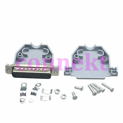 1pair DB25 Male 25 Pin 2 Rows D-Sub Connector Grey Plastic Hood Cover Backshell