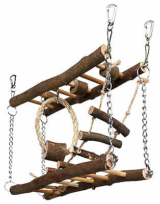 Trixie Natural Wood Hamster Cage Hanging Suspension Bridge Toy - 61650