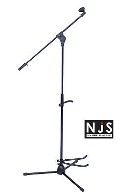NJS Music DJ Microphone Stand with Boom Arm, Tripod Base and Guitar Holder Stand