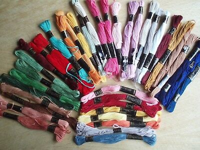 Embroidery Threads MOONBRAND & MOULINE40 Part Used skeins. Assorted colours(B)