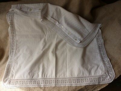 Antique French Pillow Case Hand Worked Border .