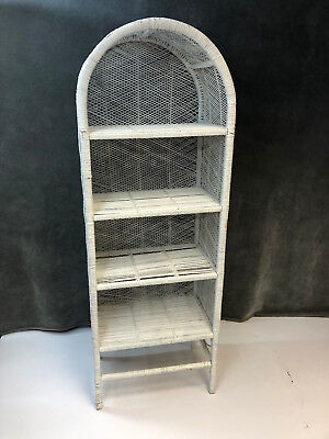 Vintage WHITE WICKER BOOKSHELF Mid Century Wall Bookcase Shelf Boho Shelving 60s
