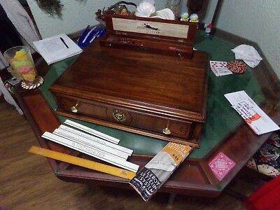 Vintage Walnut & Brass Calligraphy 1 Drawer Writing Desk Totally Restored & Writ