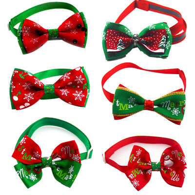 Cute Christmas Snowflakes Cat Dog Pet Adjustable Bowtie Bow Tie Collar Necktie