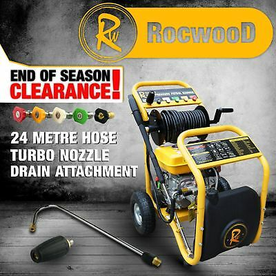 Petrol Pressure Jet Washer 7hp RocwooD 3481 PSI Turbo Nozzle Drain Cleaner