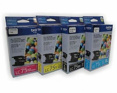 Genuine Brother High Yield Ink LC75XL Set of 4 NEW