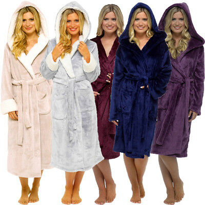 Ladies Shimmer Fleece Soft & Cosy Hooded Luxury Dressing Gown Robe Sizes 8-22