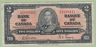 1937 Bank of Canada Two Dollar Note - Gordon/Towers - S/B1689411 - VF