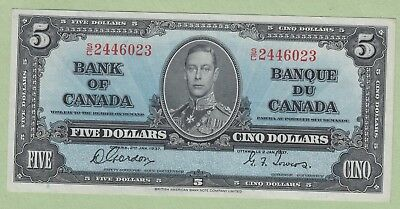 1937 Bank of Canada 5 Dollar Note - Gordon/Towers - S/C2446023 - AU