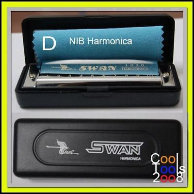 New Swan Harmonica Diatonic Blues Harp 10 Hole key of D silver Plastic case