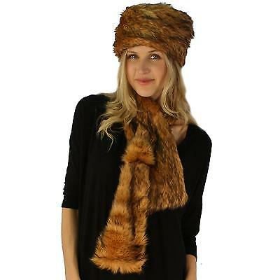 Ladies Winter Soft Animal Print Faux fur Bucket Ski Cap Hat Scarf Set Natural