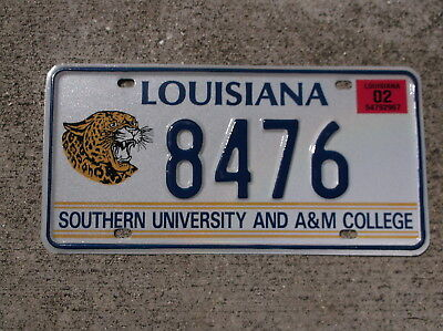 Louisiana 2002 Southern Uni. and A&M coll. License Plate # 8476