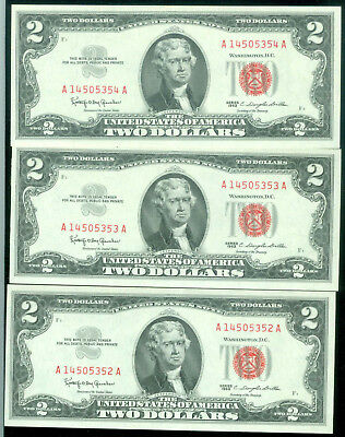3 Notes Series 1963 $2 Red Seal United States Notes -Unc. Consecutive Serial #'s