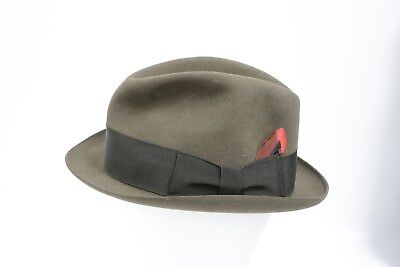 Brown Trilby Hat DOBBS Fifth Avenue NEW YORK Size  55  6&3/4 (SB120)