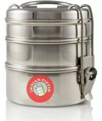 Air tight Stainless Steel LUNCH BOX Food Container 3 Tier Tiffin Round