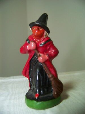 VIntage ULTRA RARE Compositon Witch Figurine Miniature GERMANY Doll house