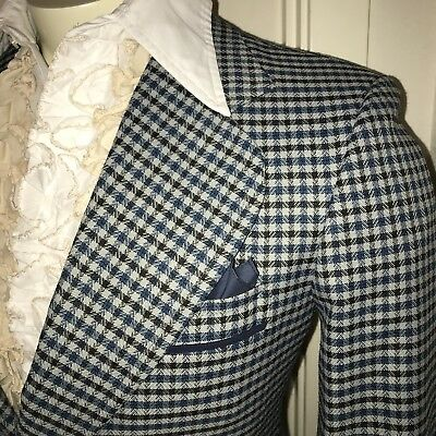 Vtg 60s 70s PLAID Mens SMALL Leisure Suit Sport Coat Jacket prom tuxedo Blazer S