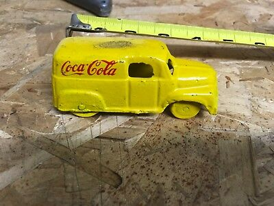 Vintage Cast Iron Coca Cola Toy Truck,Yellow,Free Shipping