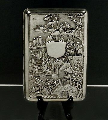 Chinese Export Silver Cigar Case      c1880  WOSHING  - FIGURES IN GARDEN -